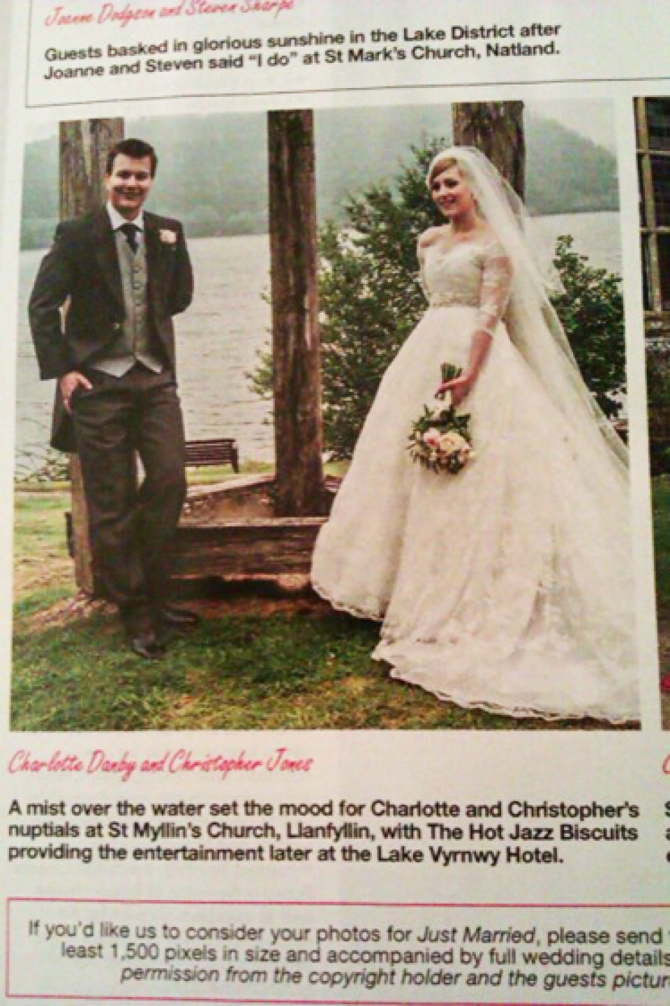 "Lake Vyrnwy Wedding featured on ""Hello"" Magazine's Just Married Wedding page"