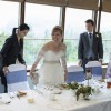 Charlotte and Chris celebrate at The Lake Vyrnwy Hotel