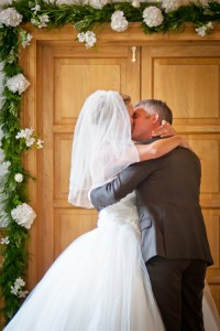 Delbury Hall - Bride and Groom hug