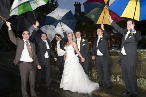 Mytton & Mermaid  the Bridal group under umbrellas