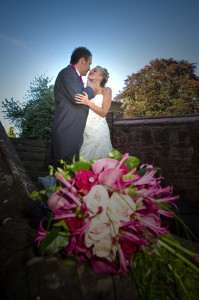 Bride and Groom kissing at Rowton Castle