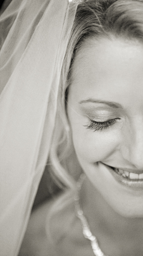 Bride smiling and close-up of her makeup