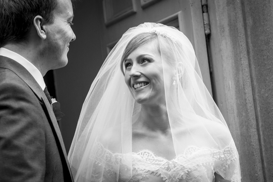 Happy Bride and her Groom at Church