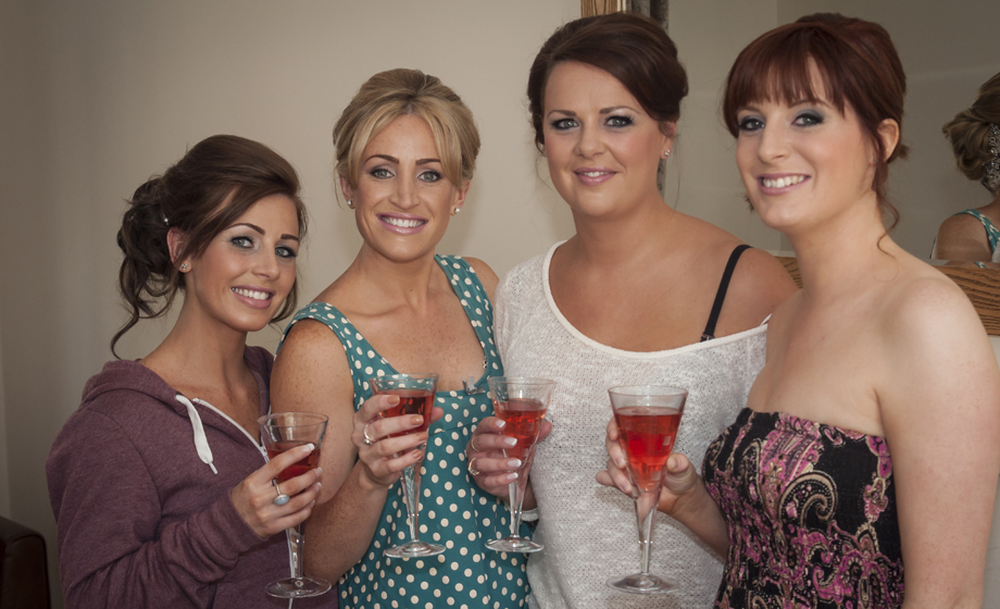 Jo and her Bridesmaids have a celebratory drink