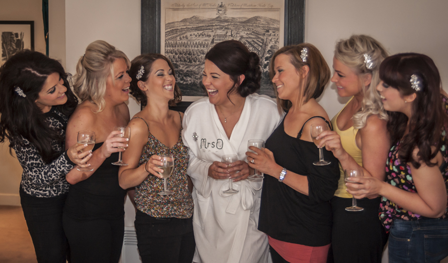 Bride and her girls share a funny moment!