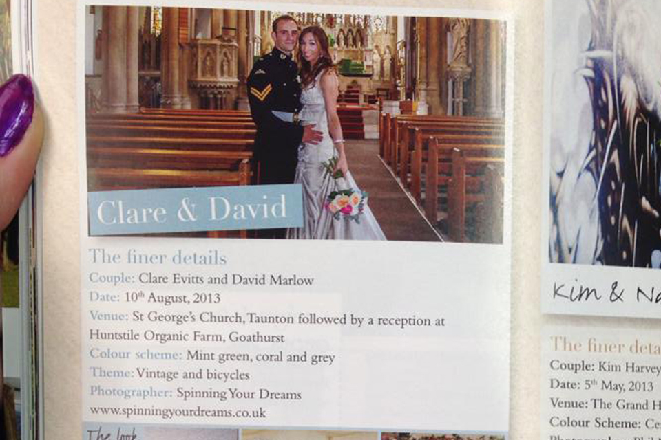 Clare and David through to next round of wedding magazine competition