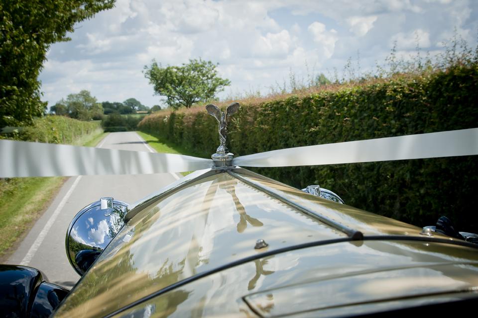 Wedding car approaching venue