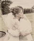 wedding couple have a hug