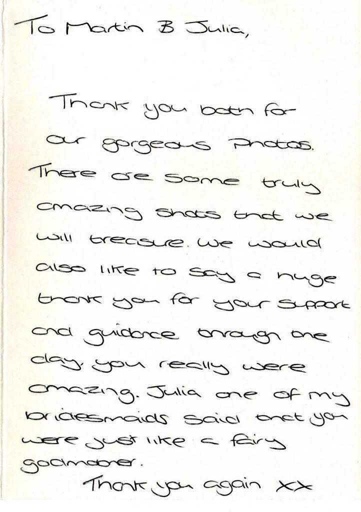 Thank you card Rowton Castle